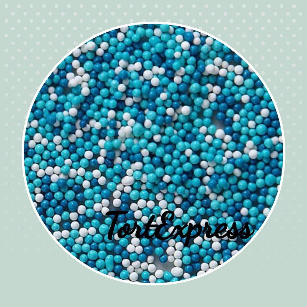Посыпки декоративные: Шарики сахарные сине- бело-голубые (2 мм) в ТортExpress