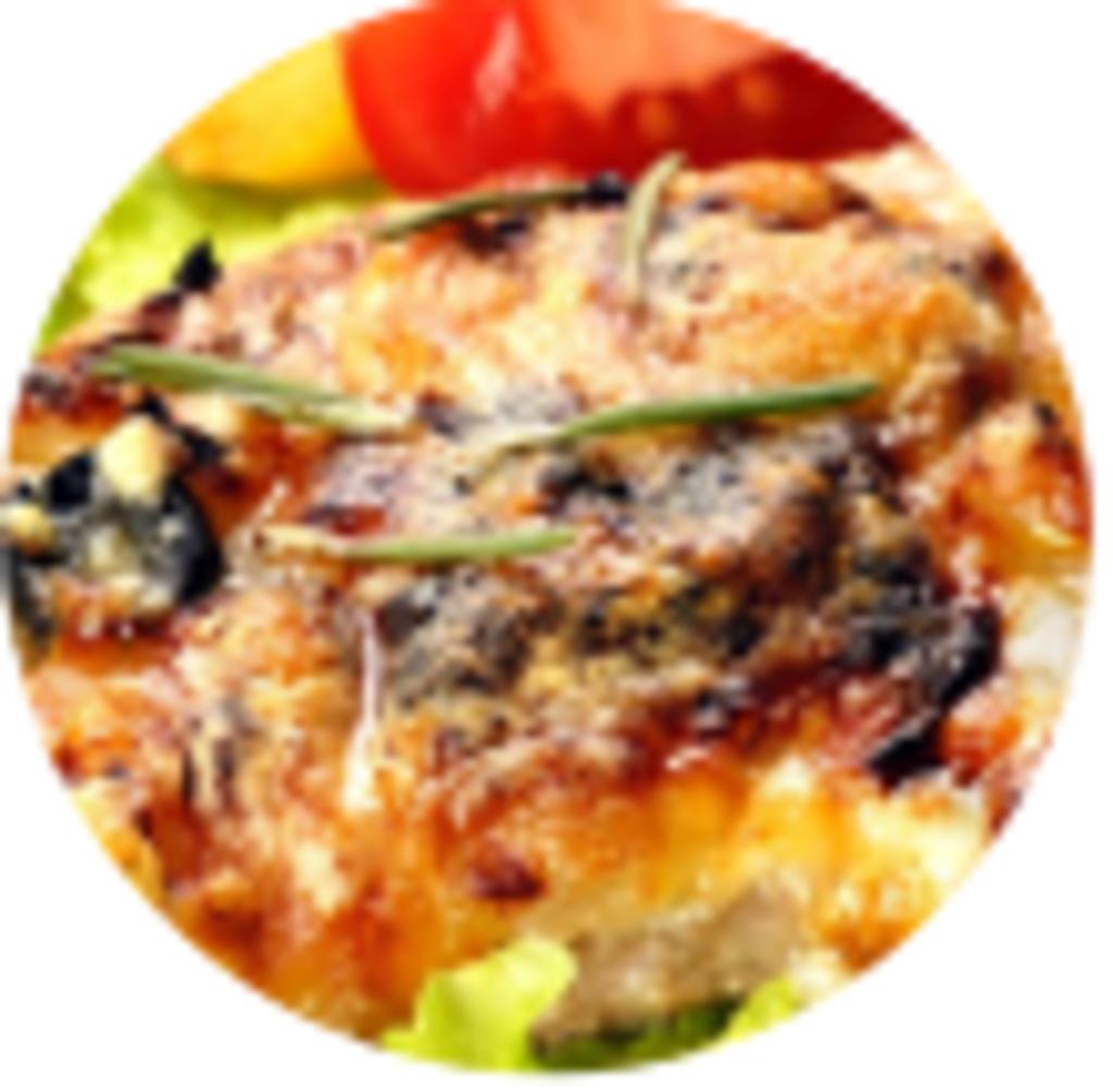 Горячие блюда: Мясо по-французски сырная шубка в Обеды в офис Красноярск