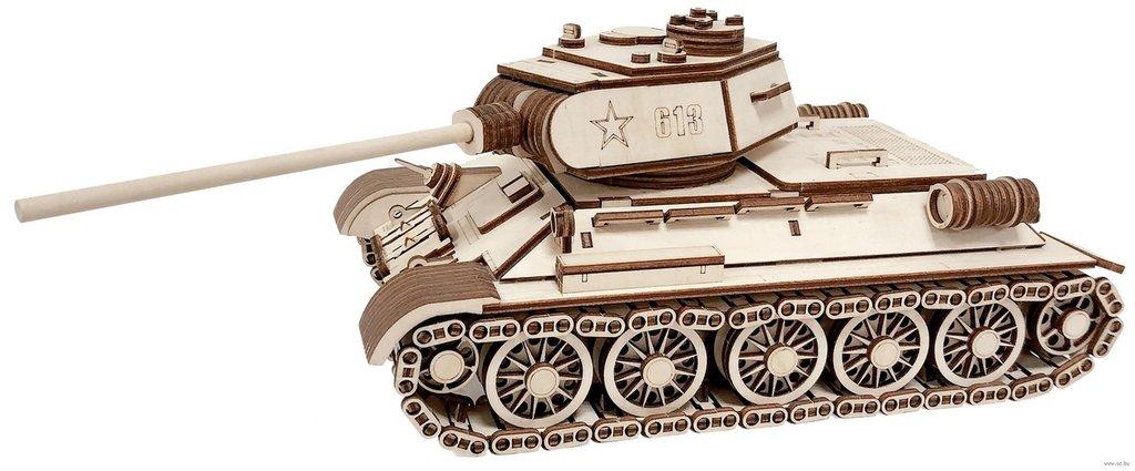 Конструкторы Леммо деревянные модели с движущимися деталями.: Танк Т-34-85 конструктор деревянный с подвижными деталями. в Игрушки Сити