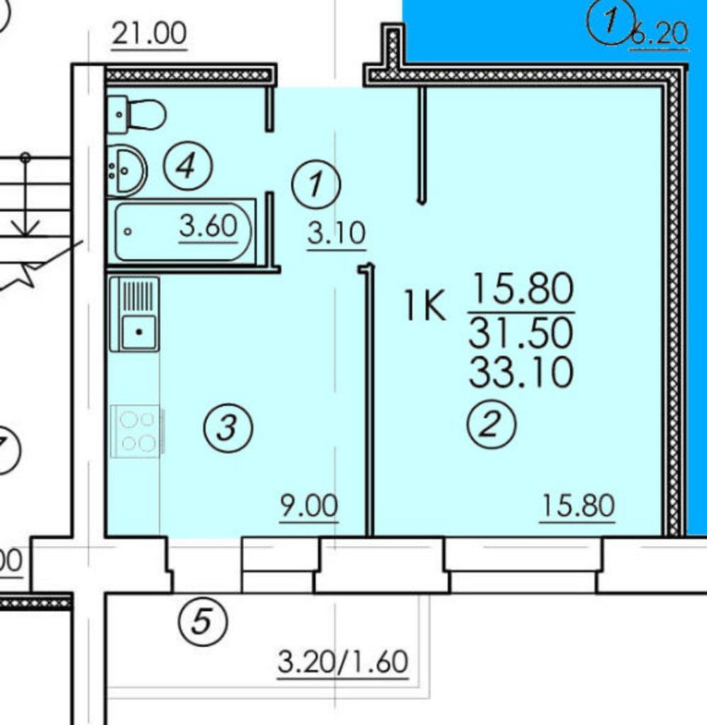 Однокомнатные квартиры: Однокомнатная квартира (№55) в РСУ-15  Специализированный застройщик ООО