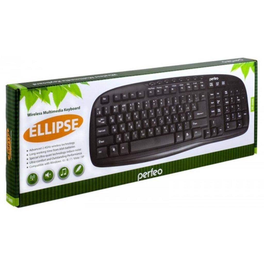 """Мышки, клавиатуры, коврики, стилусы: Клавиатура беспров. """"ELLIPSE"""" Multimedia, USB, чёрная ( Perfeo PF-5000 ) в A-Центр Пульты ДУ"""