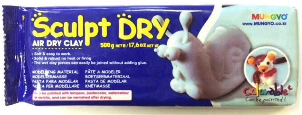 Керамическая масса: Глина для моделирования 500гр белая Sculpt Dry MUNGYO в Шедевр, художественный салон