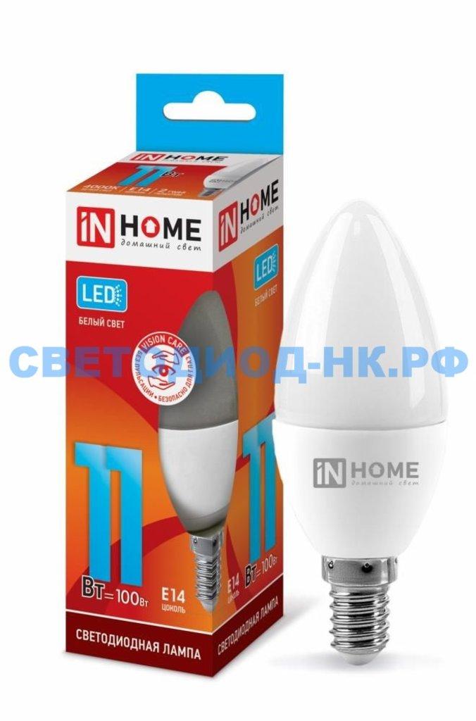 Цоколь Е14: Светодиодная лампа LED-СВЕЧА-VC 11Вт Е14 4000К 820Лм IN HOME в СВЕТОВОД