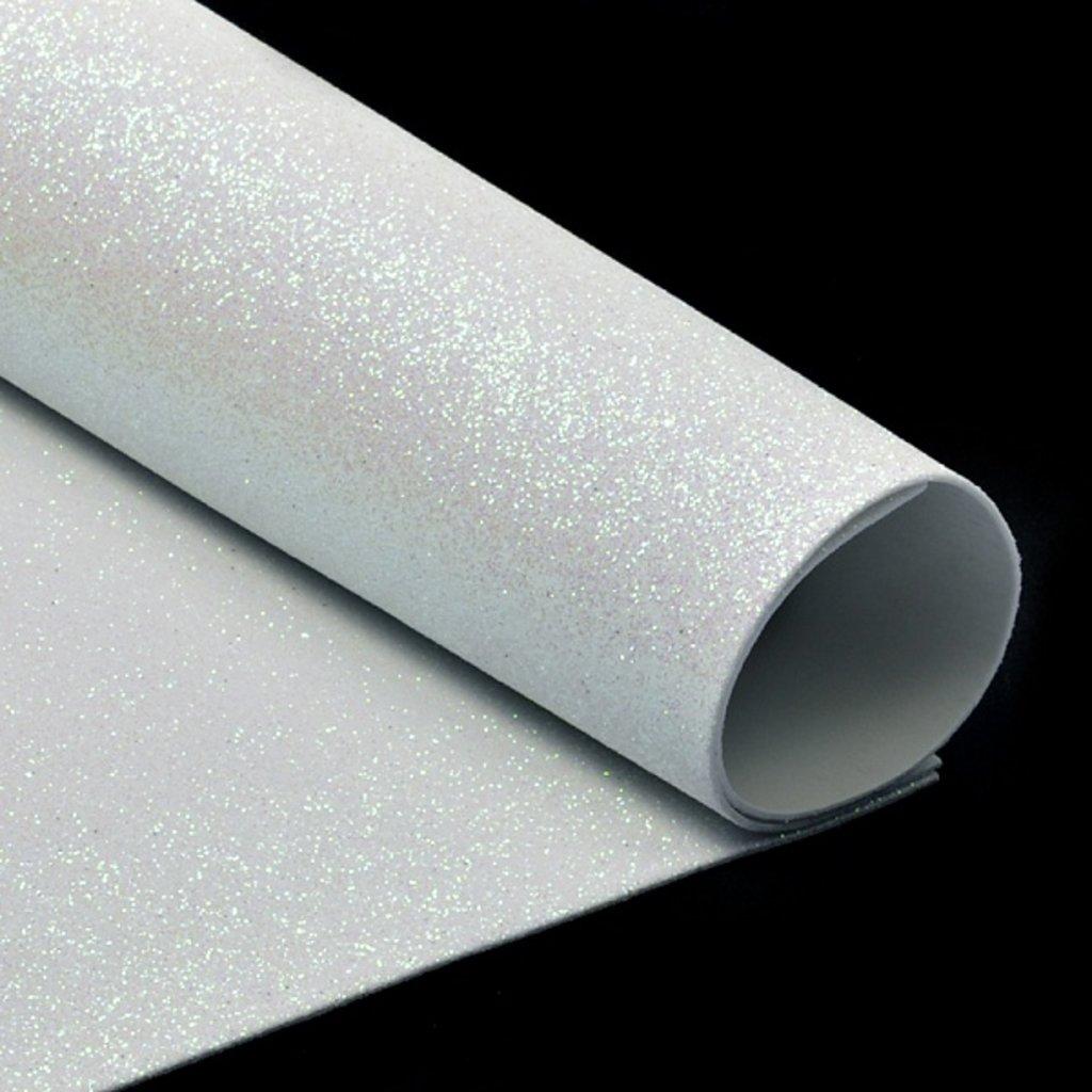 Фоамиран: Фоамиран глиттерный 2мм 20*30см белый, 1 лист в Шедевр, художественный салон