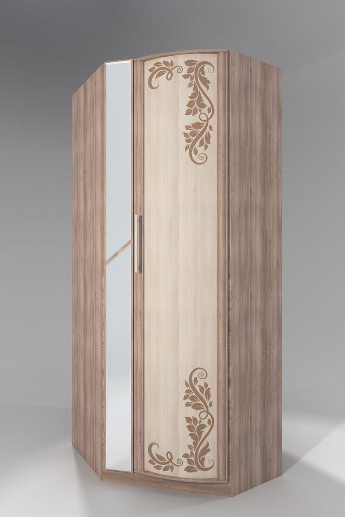 Шкафы для одежды и белья: Шкаф угловой с зеркалом с фотопечатью Кристина в Стильная мебель