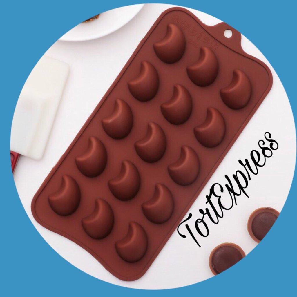 Силиконовые формы для льда, шоколада и мармелада: Силиконовая форма для льда и шоколада Полумесяц в ТортExpress