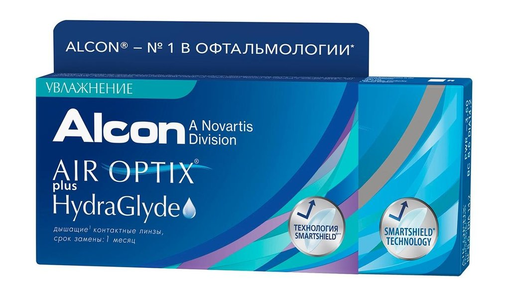 Контактные линзы: Контактные линзы AIR OPTIX PLUS HYDRAGLYDE (3шт / 8.6) ALCON в Лорнет