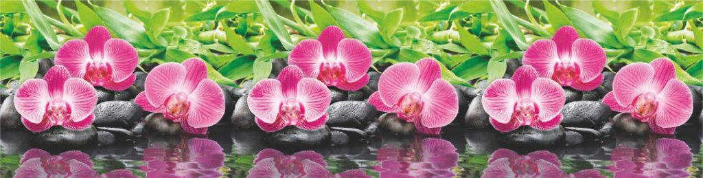 Декоративные интерьерные панели (фартуки для кухни): Интерьерная декоративная панель Орхидеи (3х0,6м; 2х0,6м) в Мир Потолков
