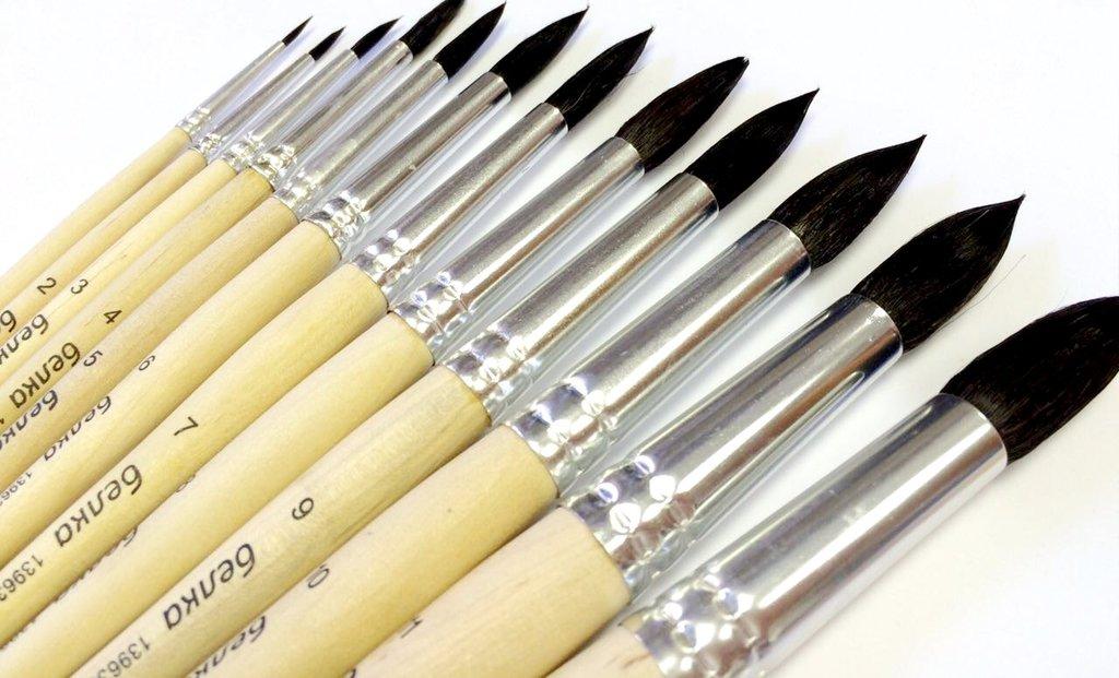 Кисти белка: Кисть белка (имитация) круглая. короткая ручка №7 в Шедевр, художественный салон