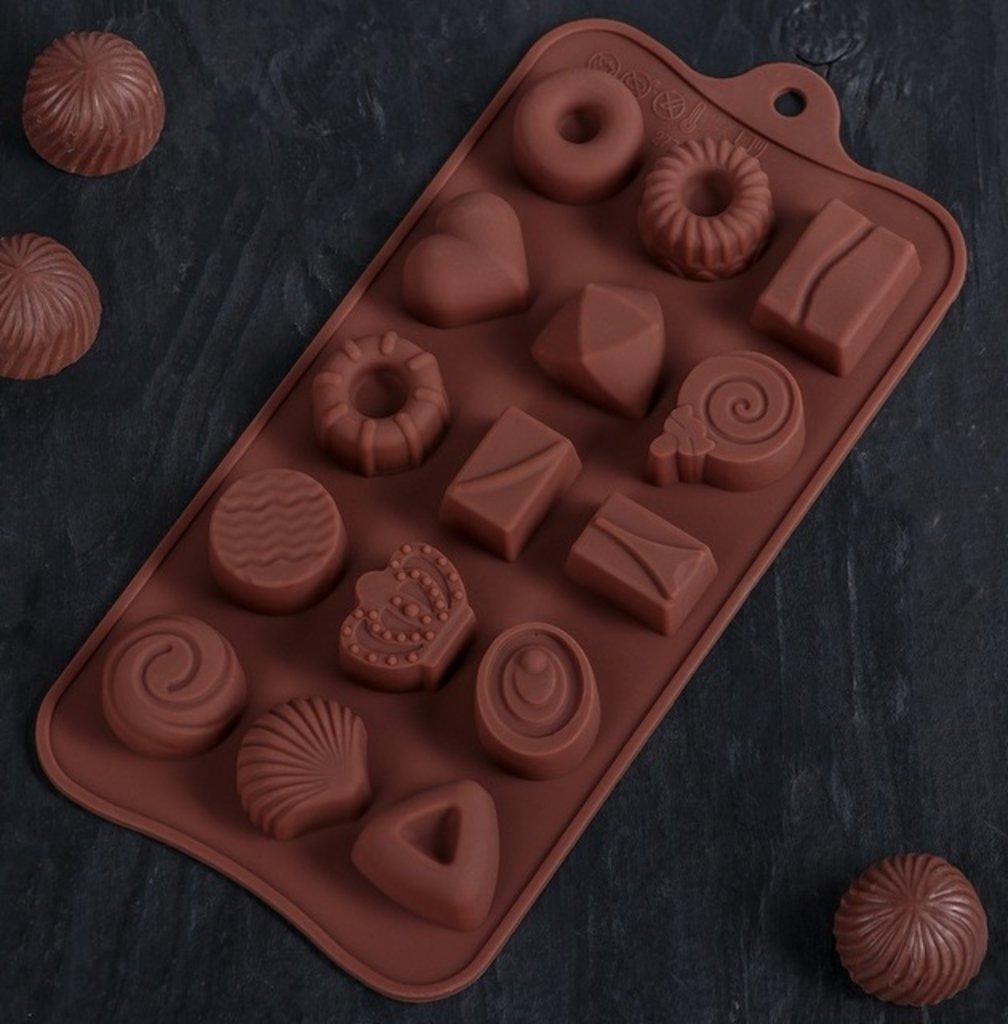 """Силиконовые формы для льда, шоколада и мармелада: Форма для льда и шоколада 21x10,4x1,3 см """"Лакомство"""", 15 ячеек в ТортExpress"""