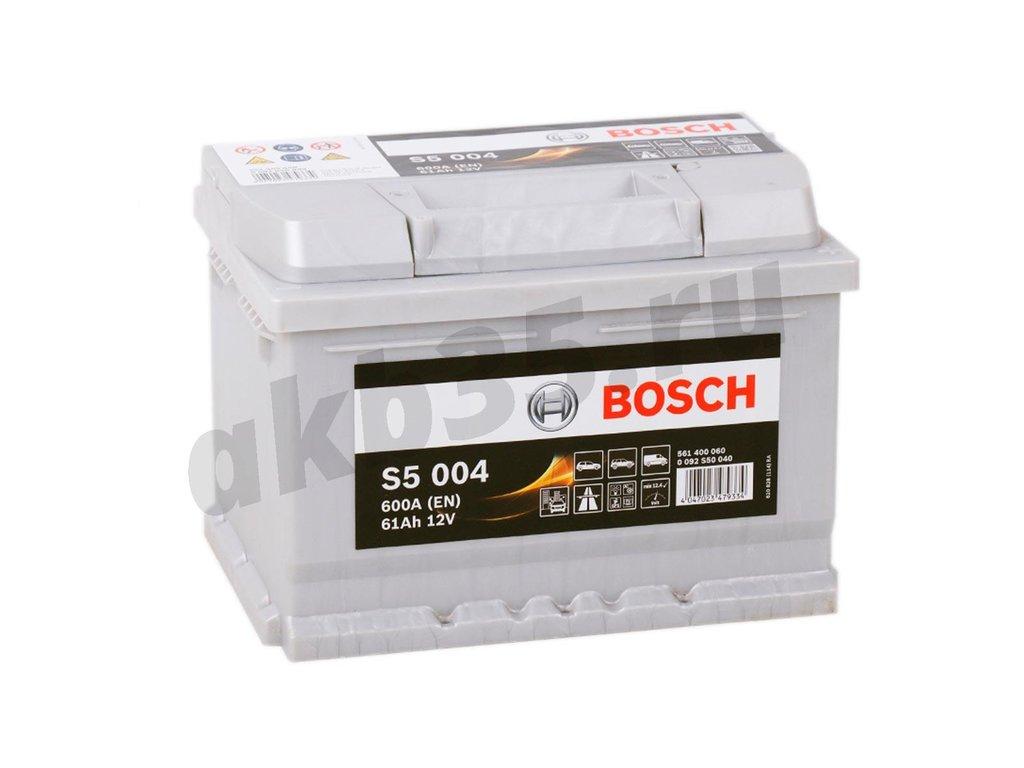 Аккумуляторы: BOSCH 61 А/ч Обратный Низкий S5 004 SILVER PLUS (561 400 060) в Планета АКБ