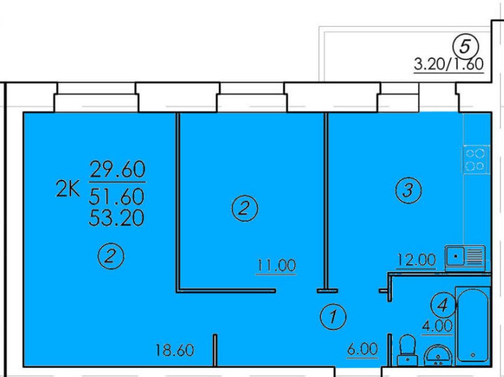 Двухкомнатные квартиры: Двухкомнатная квартира (№52) в РСУ-15  Специализированный застройщик ООО