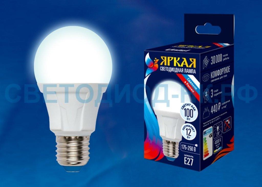 Цоколь Е27: Светодиодная лампа LED-A-60 12W/NW/E27 4000К Uniel в СВЕТОВОД