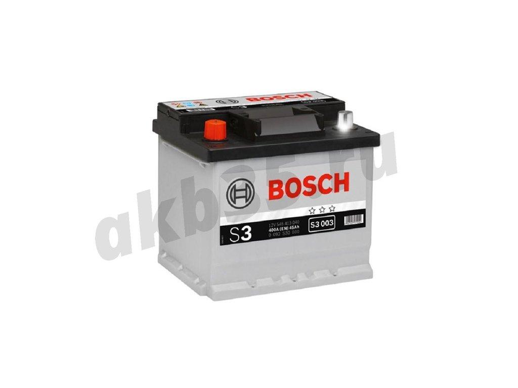 Аккумуляторы: BOSCH 45 А/ч Прямой S3 003 BLACK (545 413 040) в Планета АКБ