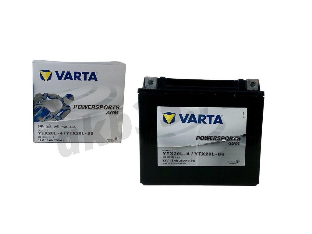 Аккумуляторы: VARTA 6СТ-18Ah 250A 177/88/156 YTX20L-BS POWERSPORTS AGM moto в Планета АКБ