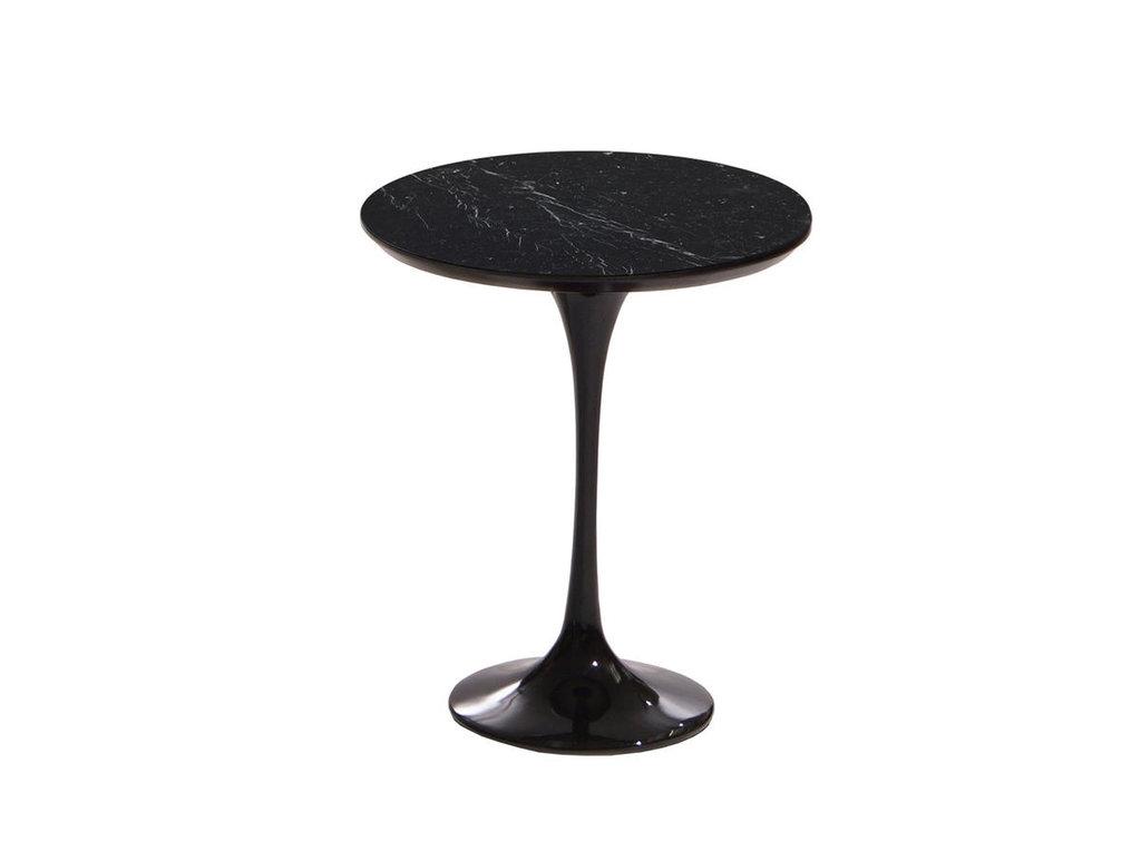 Журнальные и кофейные столики: Стол кофейный Априори T 42 см 15т столешница мрамор черный в Актуальный дизайн