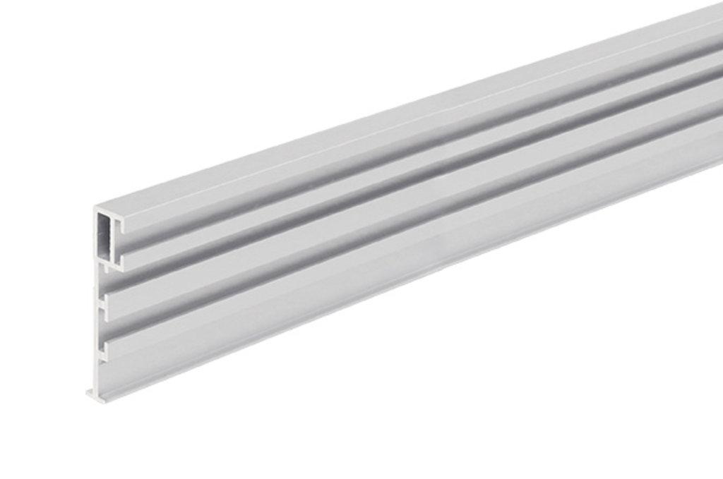 Система раздвижных дверей LIVING BASE: Профиль горизонтальный с бортиком под наклейку стекла L=3000, отделка алюминий в МебельСтрой
