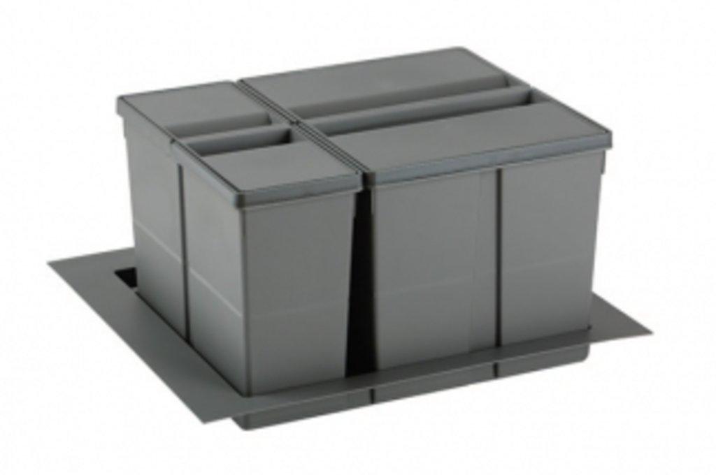 """Мебельная фурнитура """"НОВИНКИ"""": 9XL Система хранения в базу 600, H.277мм (ведра: 1х11л, 1х26л с разделителем), отделка орион серый в МебельСтрой"""