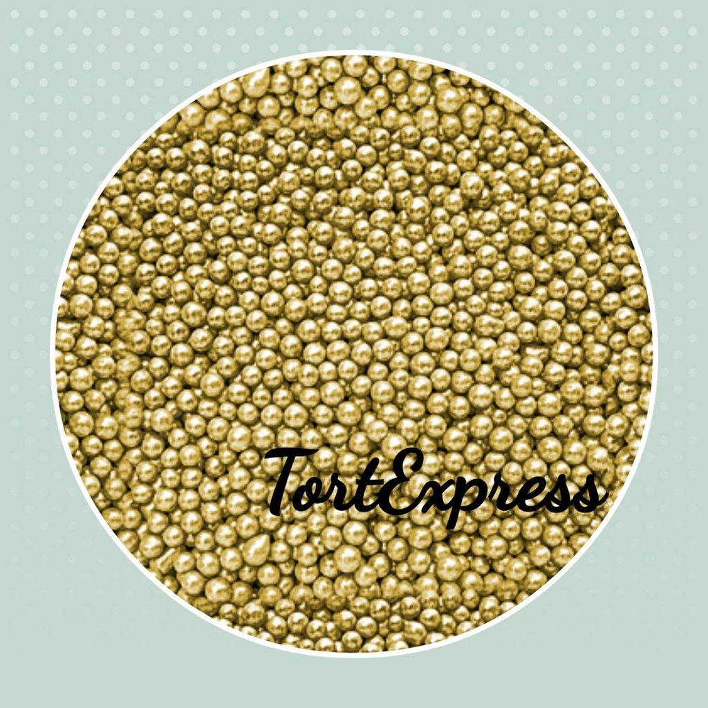 Золотой и серебряный декор: Шарики сахарные золотые 2 мм в ТортExpress