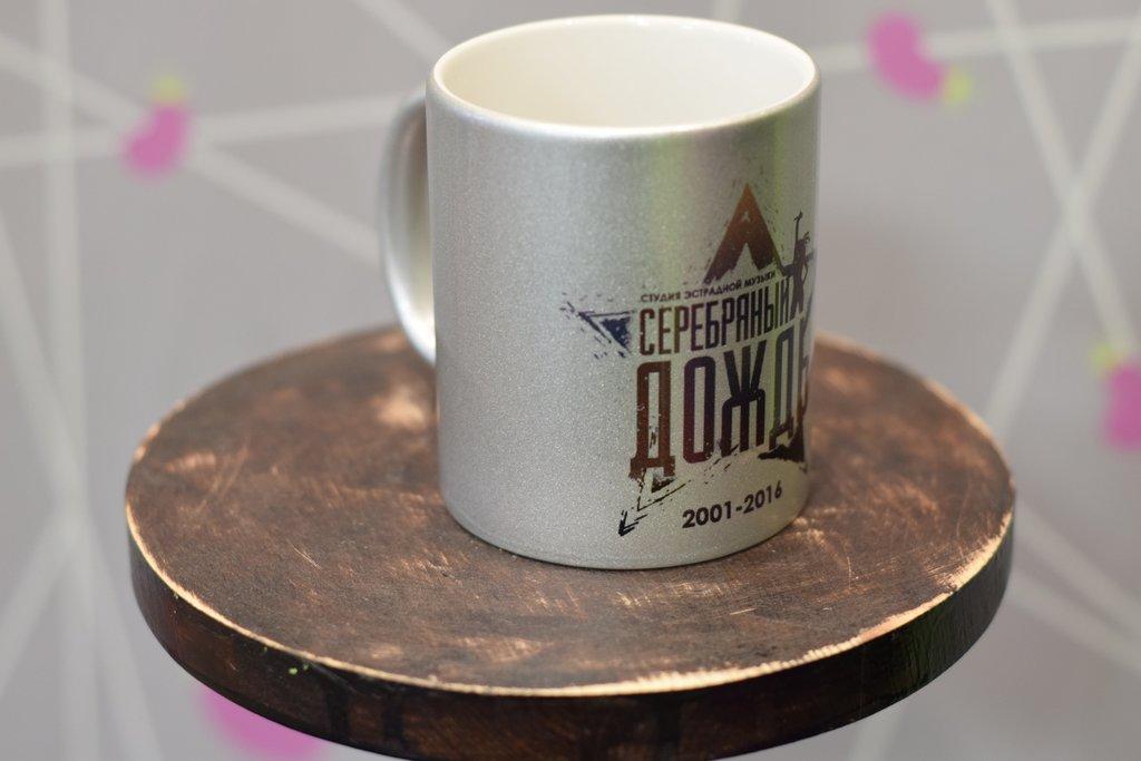 Чашки и кружки: Кружка серебряная перламутровая в Баклажан  студия вышивки и дизайна