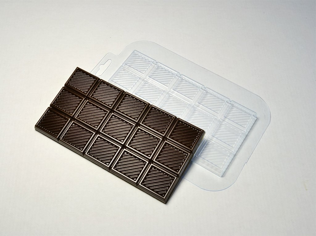 Пластиковые формы для шоколада: Форма для шоколада плитка Полосатик-2 в ТортExpress