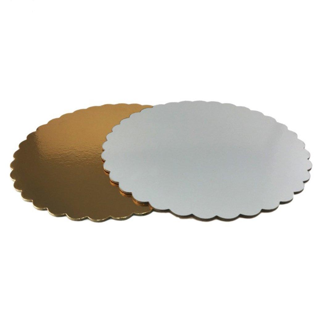 Салфетки, подложки: Подложка золото/белая 1,5мм фигурная  D24см в ТортExpress