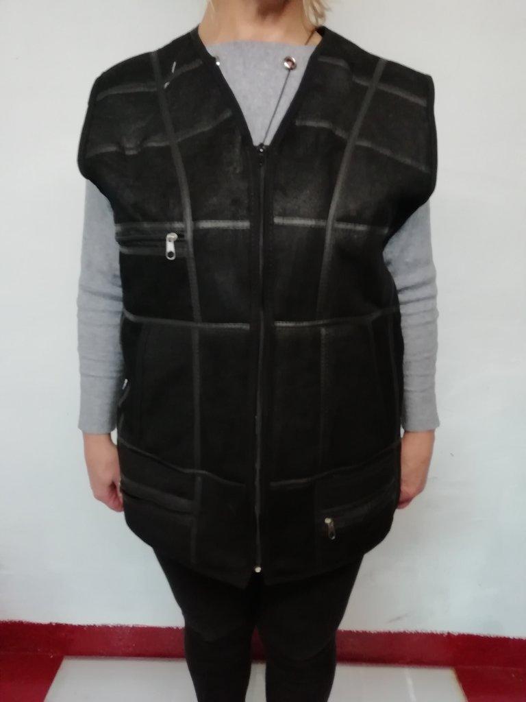 Одежда мужская, женская: Жилет из овчины с кожаным верхом в Сельский магазин