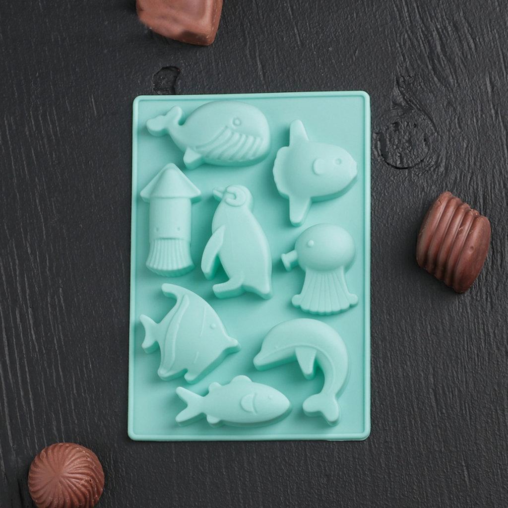 """Силиконовые формы для льда, шоколада и мармелада: Форма для льда и шоколада, 8 ячеек, 14х9,5х1,5 см """"Морская"""" в ТортExpress"""