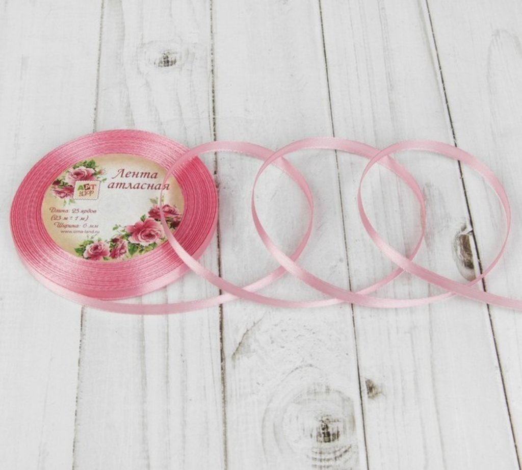 Ленты атласные: Лента атласная, 6 мм × 23  цвет бледно-розовый №41 в ТортExpress
