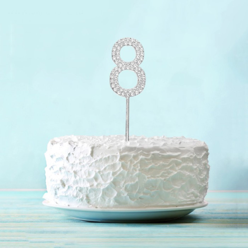 """Цифры: Топпер для торта """"8"""" со стразами, цвет серебро в ТортExpress"""