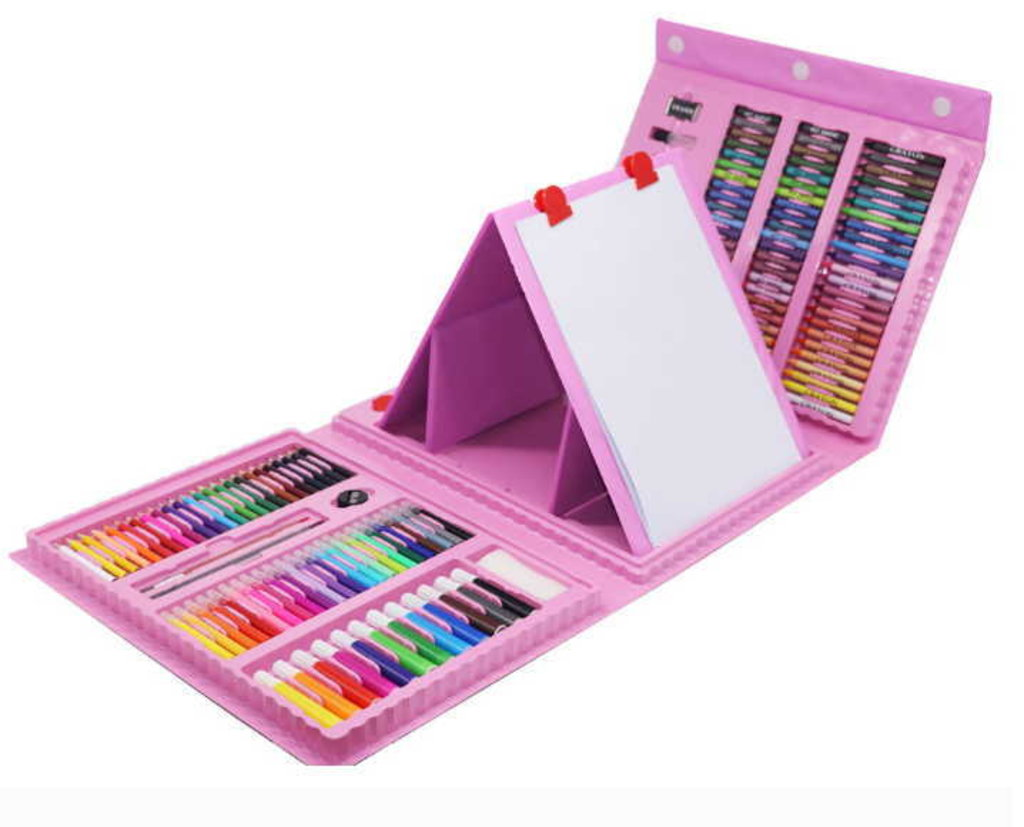 Развивающие игры Творчество: АКЦИЯ!!! Набор для творчества 176 элементов розовый с мольбертом. в Игрушки Сити