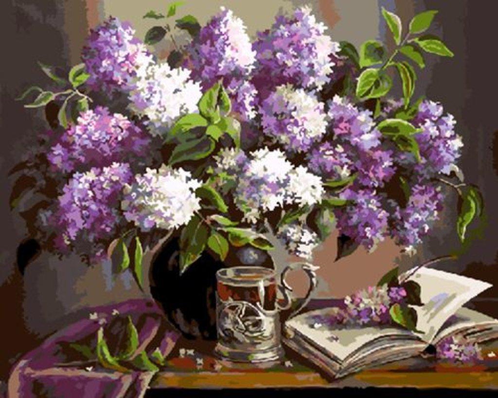 Картины по номерам: Картина по номерам Paintboy 40*50 Сирень и книга GX5426 в Шедевр, художественный салон