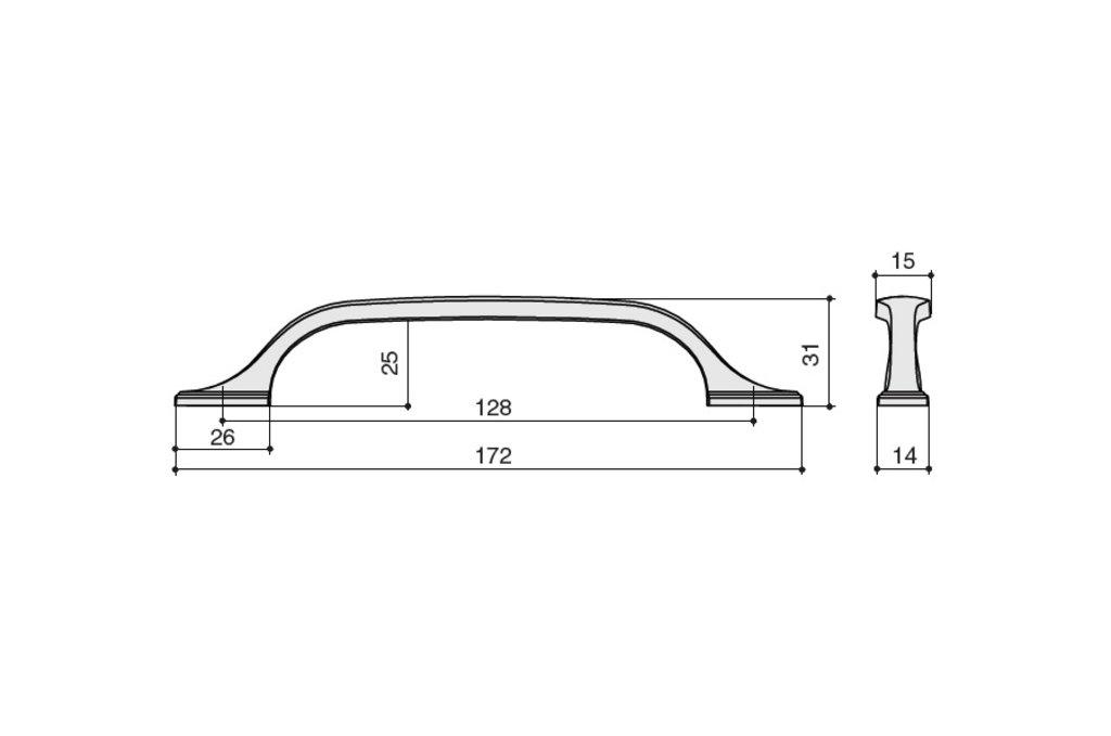 """Мебельная фурнитура """"НОВИНКИ"""": Ручка-скоба 128мм, отделка медь в МебельСтрой"""