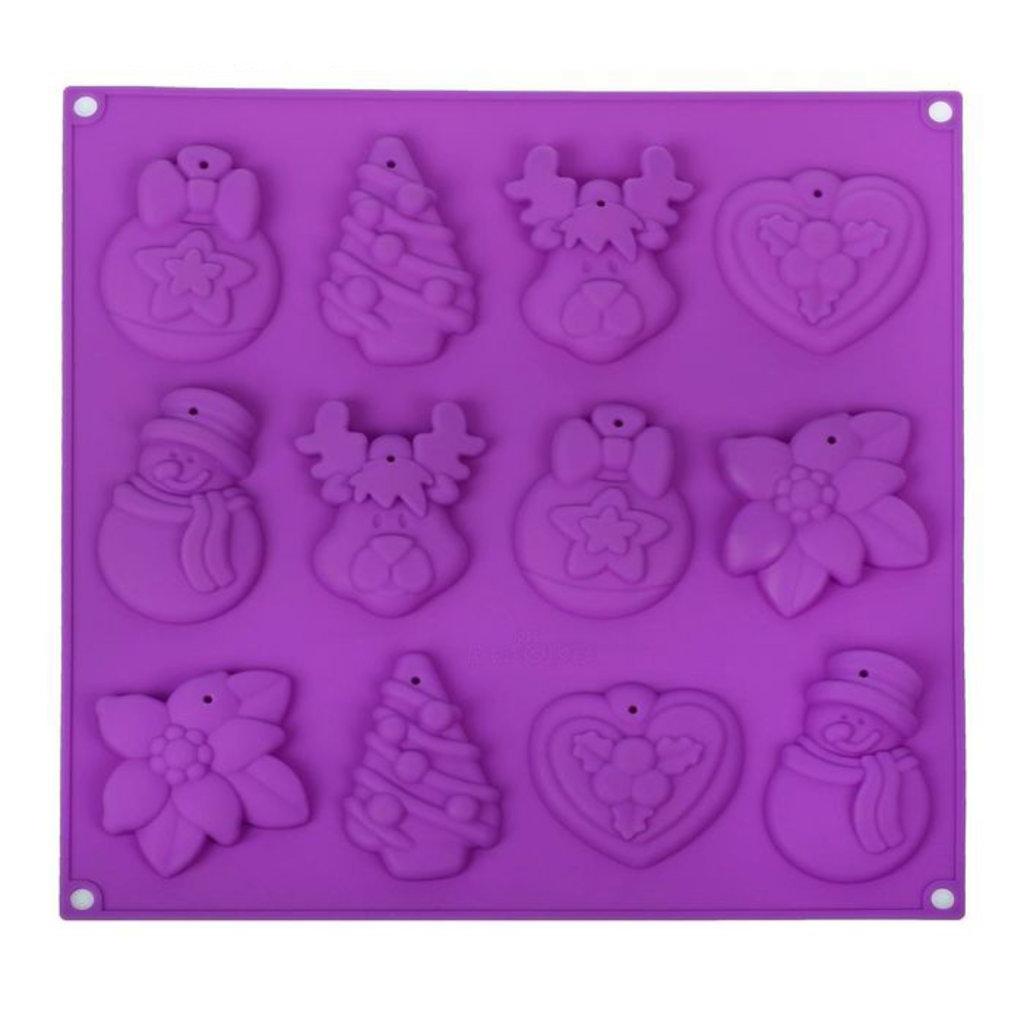 """Силиконовые формы для льда, шоколада и мармелада: Форма для шоколада и выпечки 3D 30×30 см """"Ёлочные игрушки"""", 12 ячеек в ТортExpress"""