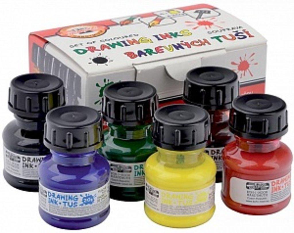 Тушь: Набор цветной туши KOH-I-NOOR 141730 6 цветов*20гр в Шедевр, художественный салон