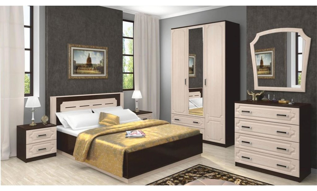 Спальный гарнитур Венеция: Шкаф ШР-2 Венеция, платье и бельё, 2 больших ящика, 1 зеркало в Уютный дом