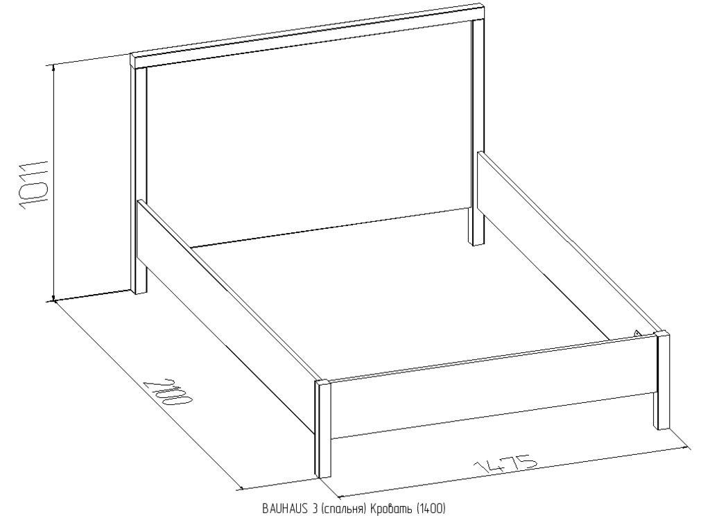 Кровати: Кровать BAUHAUS 3 (1400, орт. осн. дерево) в Стильная мебель