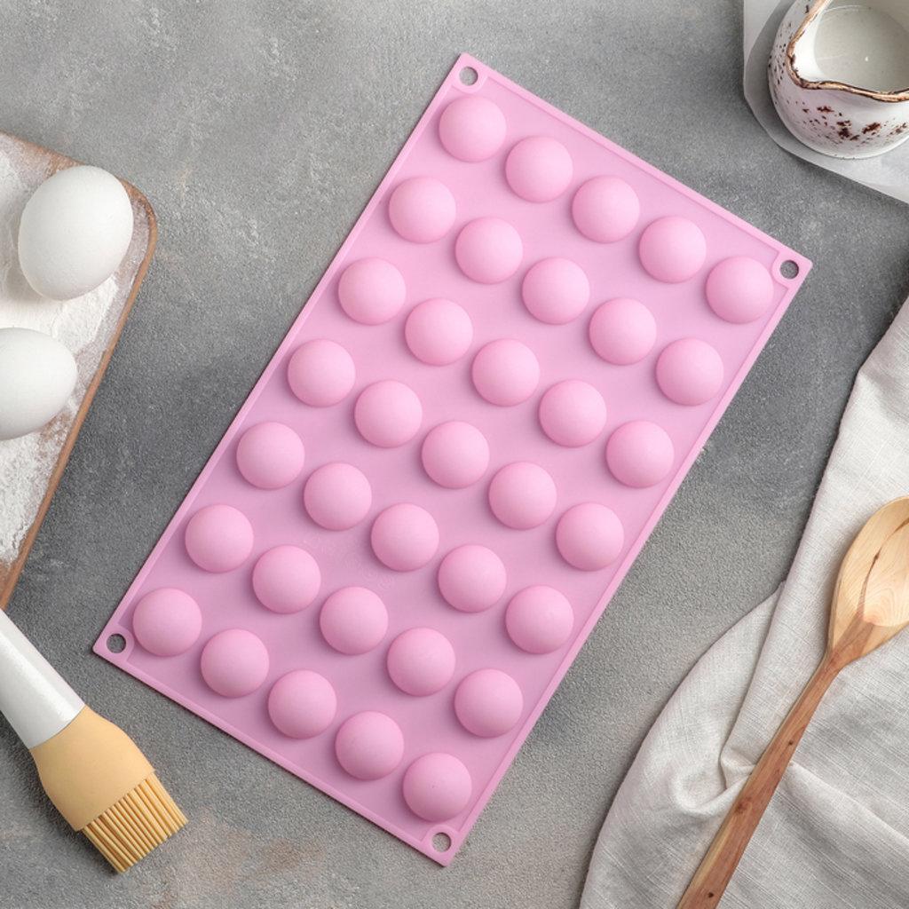 Силиконовые формы для льда, шоколада и мармелада: Форма для выпечки «Шарики», 30×17,5 см, 35 ячеек (d=2,7), цвет МИКС в ТортExpress