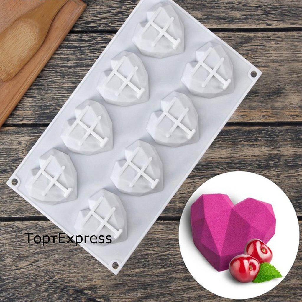 Кондитерский инвентарь: Форма для выпечки и муссовых десертов Сердце Геометрия 8 ячеек в ТортExpress