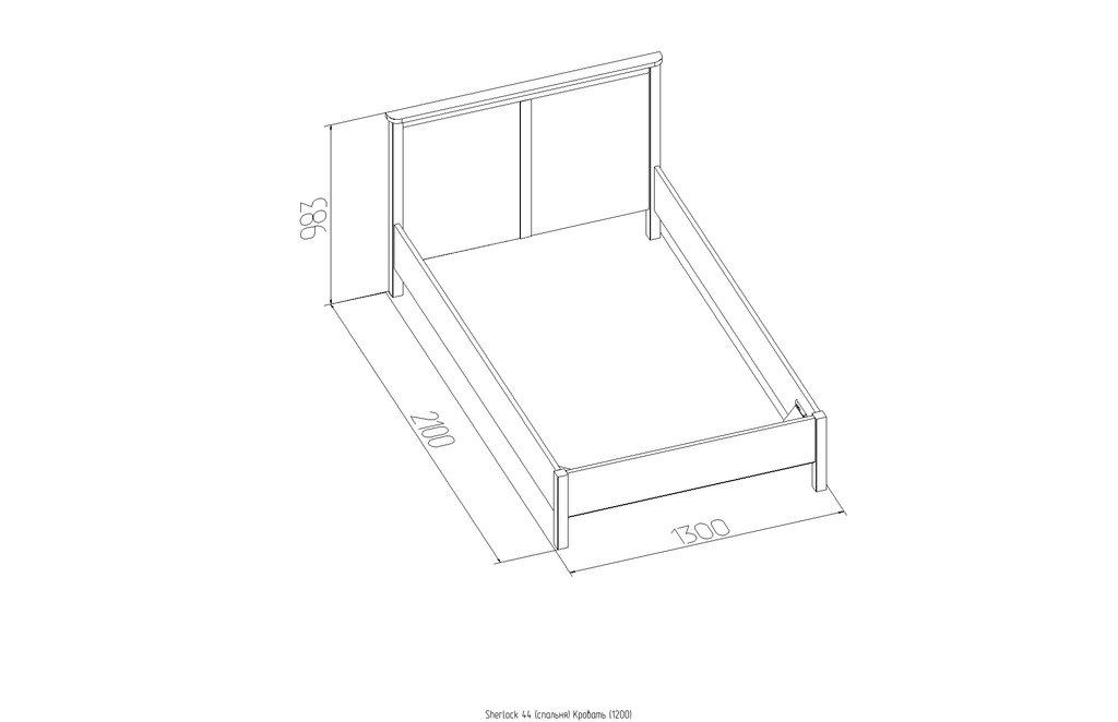 1200: Кровать Sherlock 44 (1200, орт. осн. дерево) в Стильная мебель