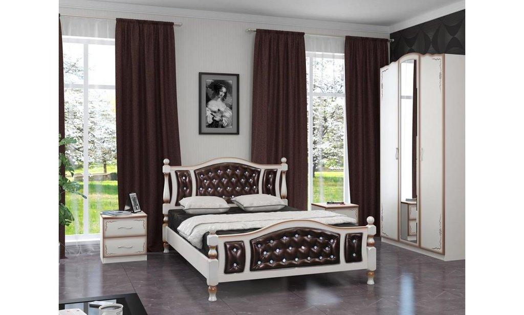 Кровати: Кровать Жасмин с элементами экокожи (массив) в Уютный дом