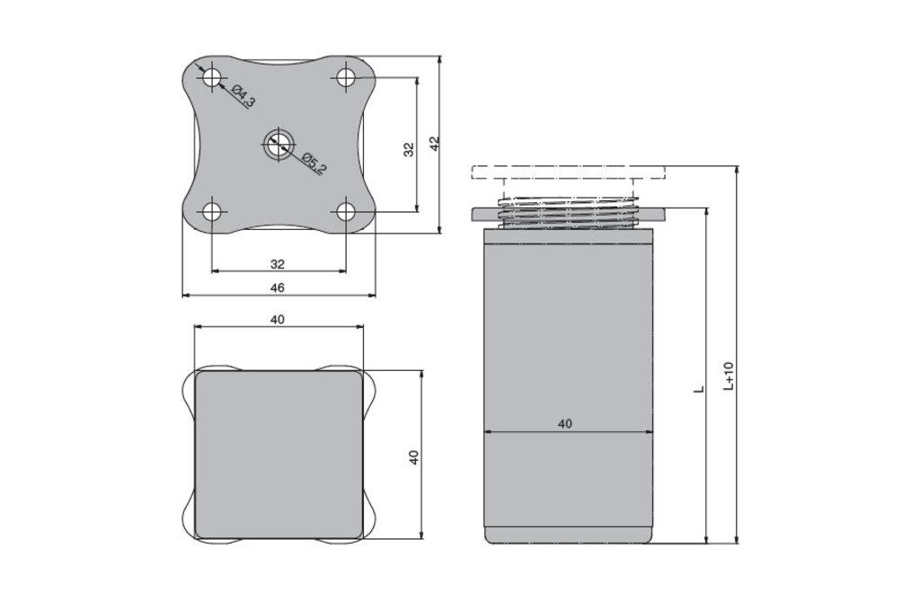 """Мебельная фурнитура """"НОВИНКИ"""": Ножка декоративная 40х40, h.60мм, отделка алюминий анодированный в МебельСтрой"""