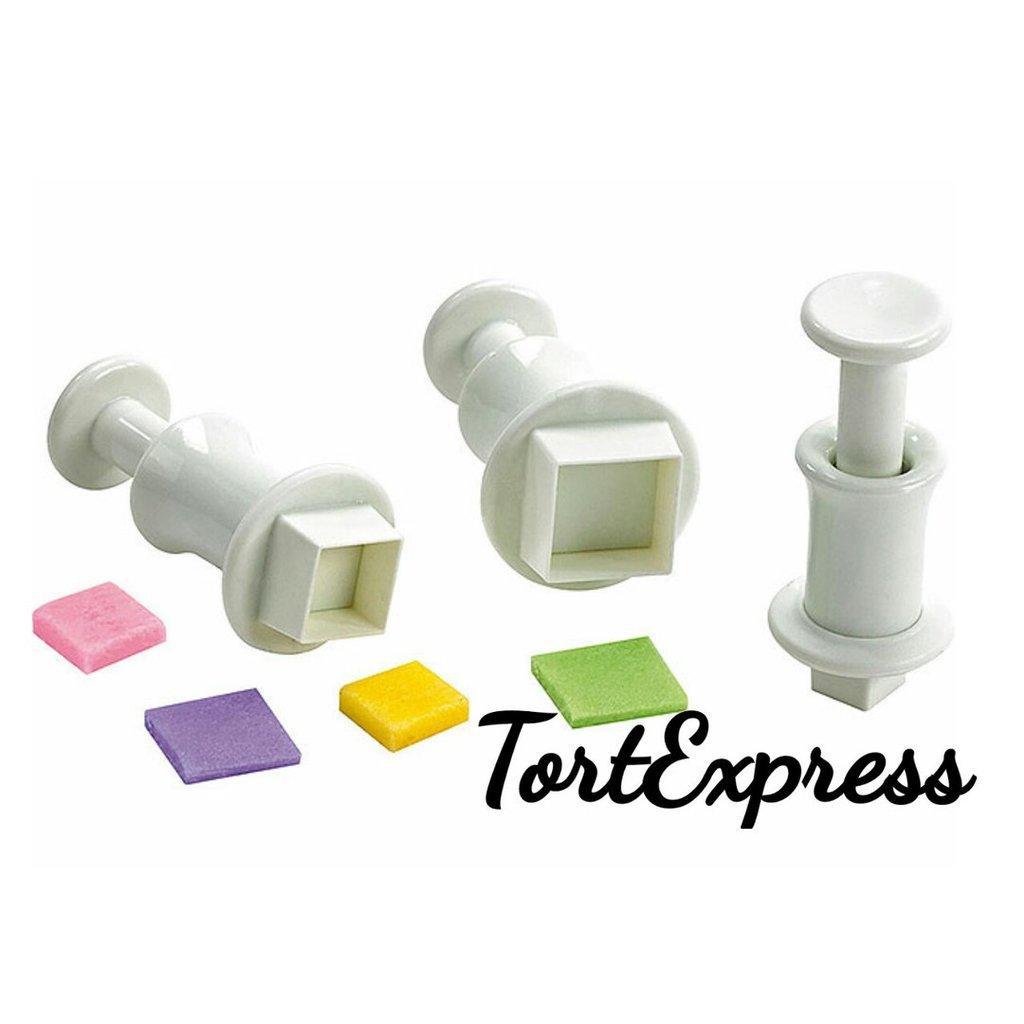 """Инструменты для работы с мастикой: Плунжеры для мастики """"Квадрат"""" 3 шт в ТортExpress"""
