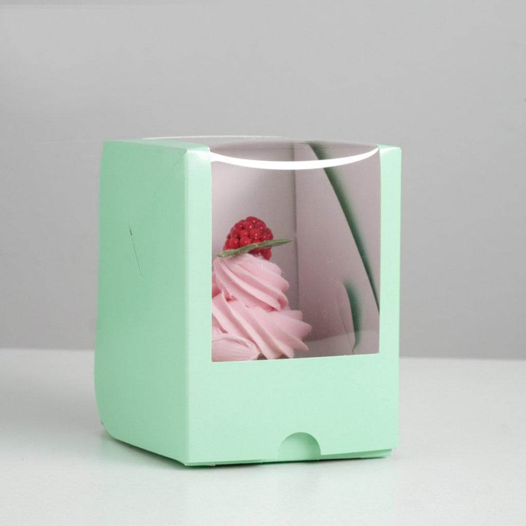 Коробки для капкейков: Упаковка под один капкейк с окном, зеленая  12,5 х 9,5 х 9,5 см в ТортExpress