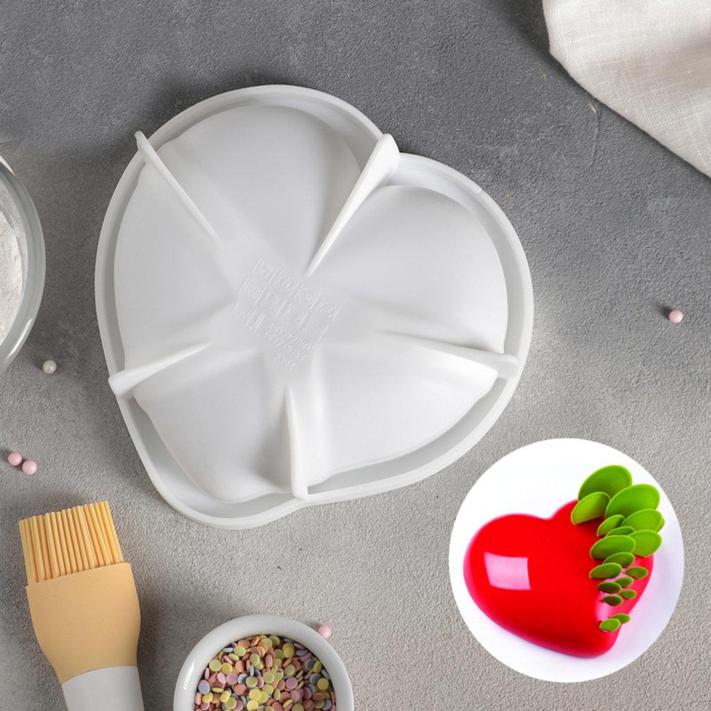 3d формы: Форма для муссовых десертов и выпечки «Сердце малое», 17,5×4,7 см, цвет белый в ТортExpress