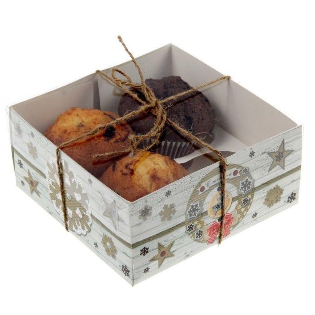 """Упаковка: Коробка для  4 капкейков """"С любовью"""" в ТортExpress"""