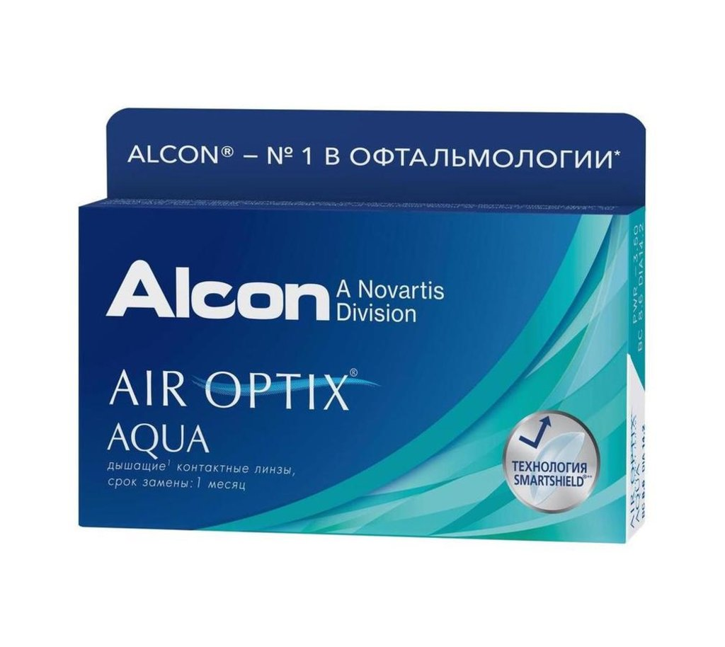 Контактные линзы: Контактные линзы AIR OPTIX AQUA (3шт / 8.6) ALCON в Лорнет