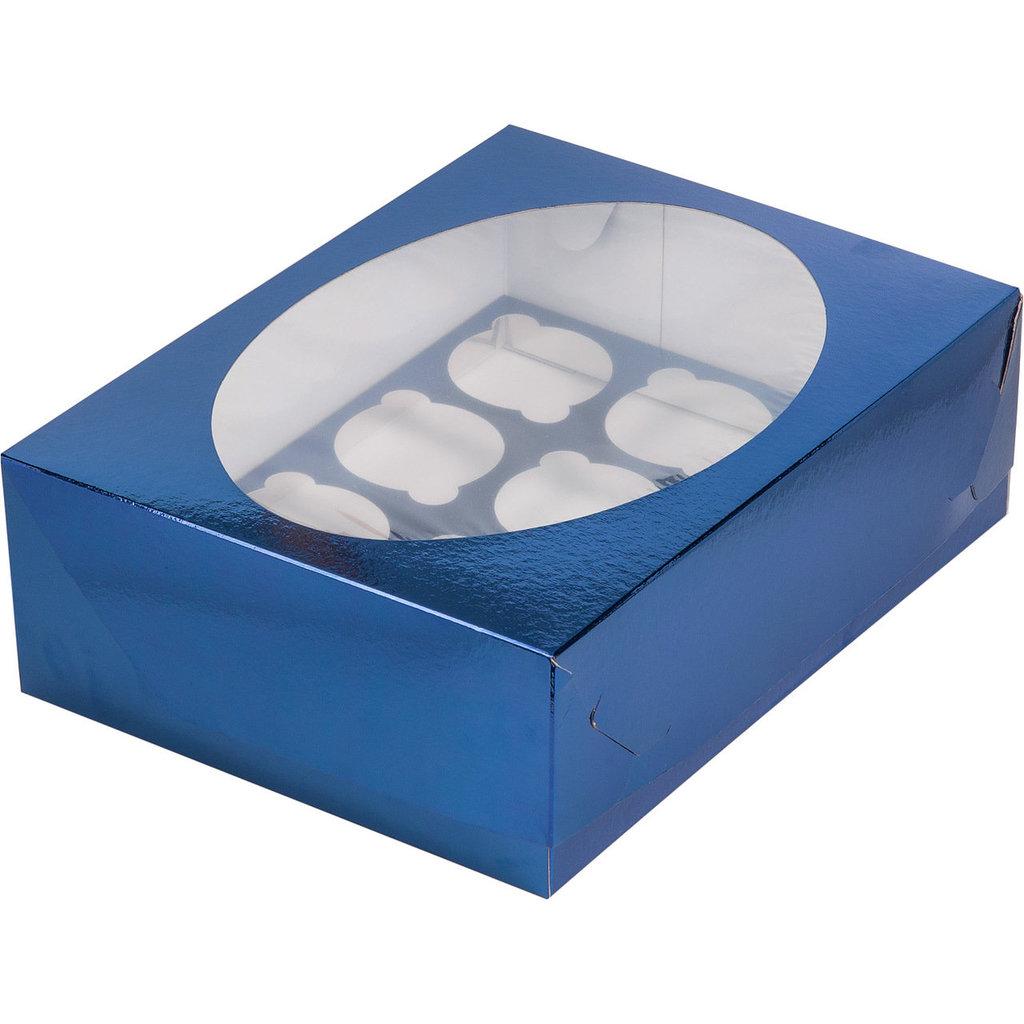 Упаковка: Коробка для 12 капкейков с окном СИНЯЯ в ТортExpress