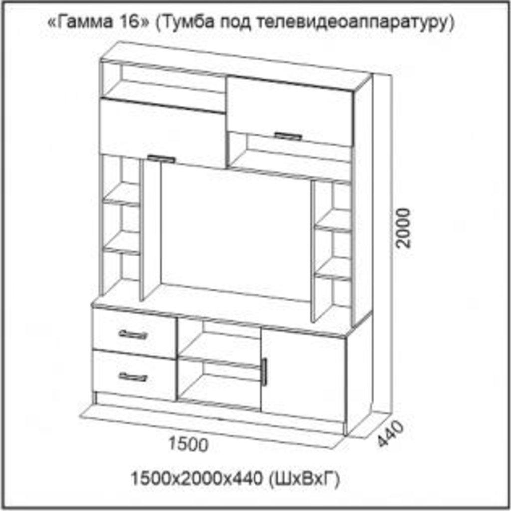 Мебель для гостиной Гамма-16: Тумба для телевидеоаппаратуры Гамма-16 в Диван Плюс