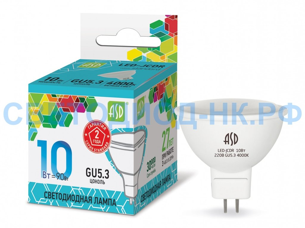 Цоколь GU5.3 (MR16): LED-JCDR-standart 10Вт 230В MR16 4000К в СВЕТОВОД